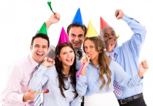 Business group having a party